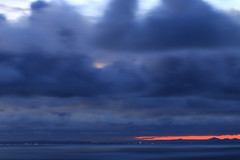 Inkspot (alideniese) Tags: longexposure blue sky water clouds dark landscape outdoors lights evening bay dusk horizon australia melbourne victoria morningtonpeninsula nightfall waterscape portphillipbay bellarinepeninsula