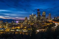 Seattle, The Other Side (Mike M Martin) Tags: seattle city longexposure blue skyline skyscraper canon washington cityscape skyscrapers hour canonfanphoto