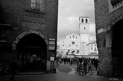 Lodi ( Ivan) Tags: street people italy white black church clouds vintage square italian cityscape cathedral piazza duomo della lodi lombardy vittoria retr romanique