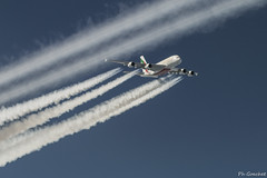 crossing an A380 of Emirates (Philippe Goachet) Tags: en plane inflight nikon aircraft emirates airline airbus a380 vol airliner avion d800