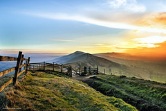 Mam Tor Morning Gate (Robert Michael Parker) Tags: morning blue sky mist mountain green up sunrise canon fence walking landscape dawn golden gate quiet purple post outdoor walk district derbyshire hill peak calm hike waking tor mam tamron 6d castleton 2470