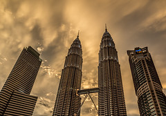 Seven-Two-Zero PM (Dinozauw) Tags: city sunset skyline modern buildings asia southeastasia skyscrapers petronas towers twin skybridge malaysia twintowers kualalumpur klcc suria goldenhour tallest 720