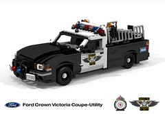 Ford Crown Victoria Coupe-Utility Concept (lego911) Tags: auto bw usa ford car modern america model lego render police australia utility pickup victoria ute smell frame falcon crown 102 concept 2008 coupe challenge v8 cad lugnuts fg povray 2000s moc bof ldd miniland foitsop lego911 pigup coupeutility ismellamodernrat