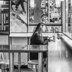 Fastfood Daydreamer (Pauls-Pictures) Tags: camera city people urban blackandwhite food woman monochrome lens lunch photography restaurant cafe eyes mural closed day break fuji eating candid fastfood australian dream bodylanguage photographers fast australia dreaming surfers fujifilm standard dreamer daydream lunchbreak daydreamer streetphotos daydreaming compactcamera lifesavers facialexpression streetphotographer slience streetpics streetphotograhy achromatic xt1 streetpictures fxlens mirrorlesscamera australianstreetphotographers 35nmf14lens
