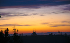 Good Morning World (Pauline Kletti) Tags: morning winter light sky panorama orange sun tree tower nature yellow sunrise garden outside soleil tour exterior good earth lumire hiver horizon sunday ciel alsace nuage paysage extrieur arbre couleur fort calme matin leverdesoleil matine rayondesoleil molsheim