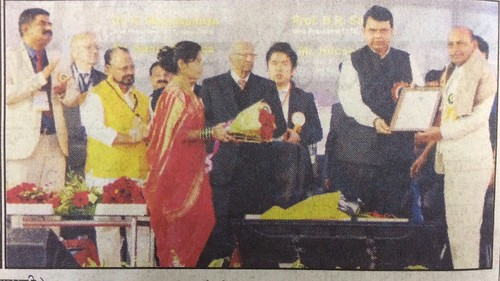 Receiving ISTE International Fellowship from the Chief Minister of Maharashtra,  India