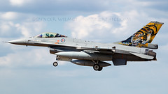 Tiger F-16 Arriving At Fairford. (spencer_wilmot) Tags: plane airplane fighter aircraft aviation tiger jet f16 arrival approach validation ffd militaryaviation riat royalinternationalairtattoo fightingfalcon egva norwegianairforce