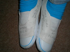 Blue socks with doodled white slip-on plimsolls (eurimcoplimsoll) Tags: socks graffiti sneakers canvas slipon plimsolls doodled plimsoles
