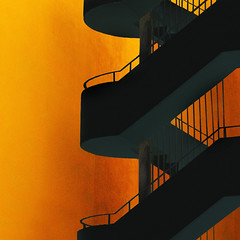 Something wicked this way comes (Arni J.M.) Tags: orange building architecture stairs dark iceland pillar vivid reykjavik staircase rails sland descending ascending somethingwickedthiswaycomes