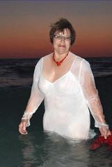 Valentine afterglow (clarkfred33) Tags: art beach water illustration photoshop gulf dusk spirit creative valentine wade swimwear redandwhite nightgown wetlook wetwoman wetlady wetadventure