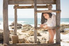 Karen (Frank CasPe) Tags: ocean blue beach girl beautiful magazine mexico rocks jalisco playa editorial vallarta puertovallarta