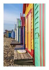 Summer Colour (red stilletto) Tags: blue sunset red summer orange colour green beach yellow brighton surf colours purple surfing surfboard colourful brightonbeach beachboxes bathingboxes