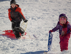 More (leelanau2010) Tags: blue winter red usa white snow kids mi fun parents lucy crazy sister christopher bumpy sledding northwoods