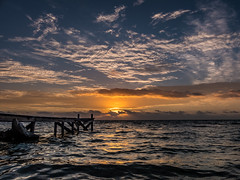 Ambergris Caye Sunrise (Gewel Maker) Tags: ocean water clouds sunrise pier belize ambergriscaye fishingshack