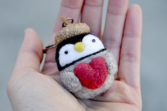 Needle felted Penguin keychain holding heart (noristudio3o) Tags: baby love wool animal studio penguin doll day handmade gray mothers acorn cap gift kawaii valentines handcrafted needlefelting etsy figurine amigurumi nori needlefelt needlefelted iceanimal amigurumis etsyseller etsyhunter etsyusa noristudio