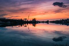 Fiume Po (lucarino) Tags: sunset italy sunlight reflection river landscape tramonto fiume porto po riflessi cremona