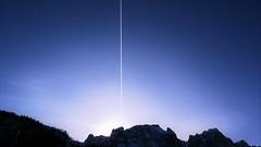 Night mountain's (IdzzDeFlits) Tags: mountain airplane aircraft lightfall