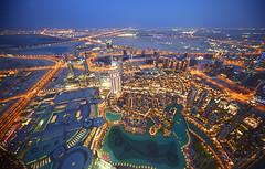 Blue hour in Dubai (Riyazi) Tags: city travel blue light fountain mall evening dubai cityscape uae trails khalifa hour burj atthetop