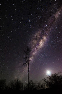 Waning Crescent under the Milky Way - Gnangara, Western Australia