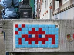 Space Invader AMS_04 (tofz4u) Tags: blue red streetart holland amsterdam tile rouge mosaic spaceinvader spaceinvaders thenetherlands bleu invader mosaque artderue reactivated restaur ams04