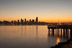 Seattle Skyline sunrise with Fishing Pier on Elliott Bay (Jim Corwin's PhotoStream) Tags: seattle city travel urban horizontal architecture sunrise buildings reflections outdoors photography downtown nw cityscape waterfront skyscrapers northwest sightseeing earlymorning skylines officebuildings citylights pacificnorthwest northamerica pugetsound elliottbay attractions fishingpier cityskyline seattleskyline exteriors tallbuildings destinations locallandmark placestosee localattractions