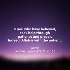 O you who have believed, seek help through patience and prayer. Indeed, Allah is with the patient.  Quran Surat Al-Baqarah (2), Verse 153 (Do Not Forget Allah) Tags: world life color english writing word book truth flickr peace message muslim islam text faith think feel culture lifestyle quotes bengal bangladesh prophet bangla allah jannah islamic quran verse surah bengali surat bangladeshi bukhari zikir hadith jahannam zikr dhikr ayat  monochorome  ayats namesofallah flickraward sahih  asmaulhusna bookofallah islamicquotes