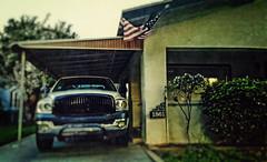 AN AMERICAN VISION (akahawkeyefan) Tags: house truck flag pickup driveway kingsburg davemeyer