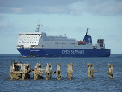 Patria Seaways (Nekoglyph) Tags: blue sea white industry water ferry river cormorants boat wooden support offshore estuary accommodation teesside funnel windfarm tees dfds barcheboats patriaseaways