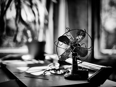 Antique Fan (w.mekwi photography) Tags: light blackandwhite window monochrome fan dof bokeh antique depthoffield nikond800 wmekwiphotography hmbt