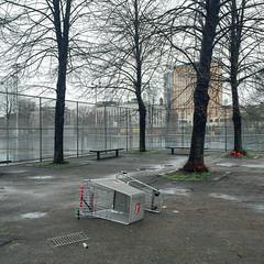 (zaygphoto) Tags: city urban apple wet rain boston outdoors university shoppingcart southend northeastern deadpan iphone iphone6