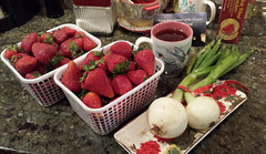 a taste of my world ... for fun (Vicki's Nature) Tags: georgia phone tea strawberries samsung manmade vickisnature mercierorchard 171623 babyvidalias