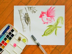 brush painting practice (NaoCan) Tags: cicada watercolor corn watercolour rooster sumie brushpainting kuretake suibokuga sketchkit travelkit