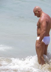 IMG_1174 (danimaniacs) Tags: shirtless man hot sexy guy beach pecs muscle muscular beefy bald trunks speedo swimsuit stud mansolo