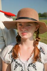 Girl (wyojones) Tags: girl hat ginger texas dress houston redhead pigtails deerpark lynchberg sanjacintoday sanjacintobattlefieldstatehistoricalpark sanjacintobattlereenactment