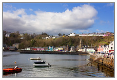 The Pretty Harbour of Tobermory (Audrey A Jackson) Tags: trees sky seascape colour church wall clouds landscape boats scotland harbour rope isleofmull tobermory cottages canon60d