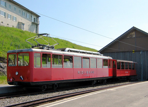 Vitznau-Rigi Bahn - Class Bhe2/4 Railcar No. 3 built 1937 and trailer 14 stand at the Summit Station on the 2nd July 2009