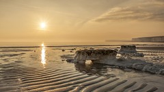 Golden Hour at Birling Gap - Eastbourne - East Sussex (PeterBrooksPhotography) Tags: uk sunset sea sky sun seaweed reflection beach season landscape sussex spring nikon wave hills eastbourne eastsussex southdowns eveninglight birlinggap sunbusrt d700 peterbrooksphotography ©peterbrooks