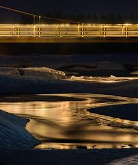 Liquid gold (Janne Herva) Tags: longexposure bridge snow building ice water river evening spring dusk stacking lumi vesi ilta jää rakennus silta joki kevät culturelandscape kuvakooste pitkävaloitusaika rakennettuympäristö