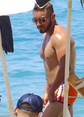 IMG_0742 (danimaniacs) Tags: shirtless man hot guy beach pecs beard hunk trunks swimsuit stud scruff sext