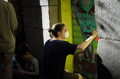 (wilhelmgulliksen) Tags: madrid street city light urban color green art ink photography graffiti spain nikon shadows spray malasaa pinta