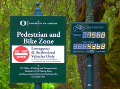 Bikes today (Wolfram Burner) Tags: signs college oregon campus university bikes systems eugene uo biking signage pedestrians data information uofo universityoforegon sensor uoregon