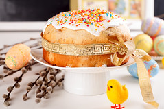 Easter cake with eggs (lyule4ik) Tags: pink red food white holiday flower green cup beautiful yellow cake horizontal closeup fruit breakfast festive easter season table dessert photography spring colorful candy symbol blossom sweet traditional religion egg decoration nobody fresh sugar chick gourmet celebration delicious biscuit tulip pastry present tradition decor celebrate arrangement baked panettone easteregg kulich