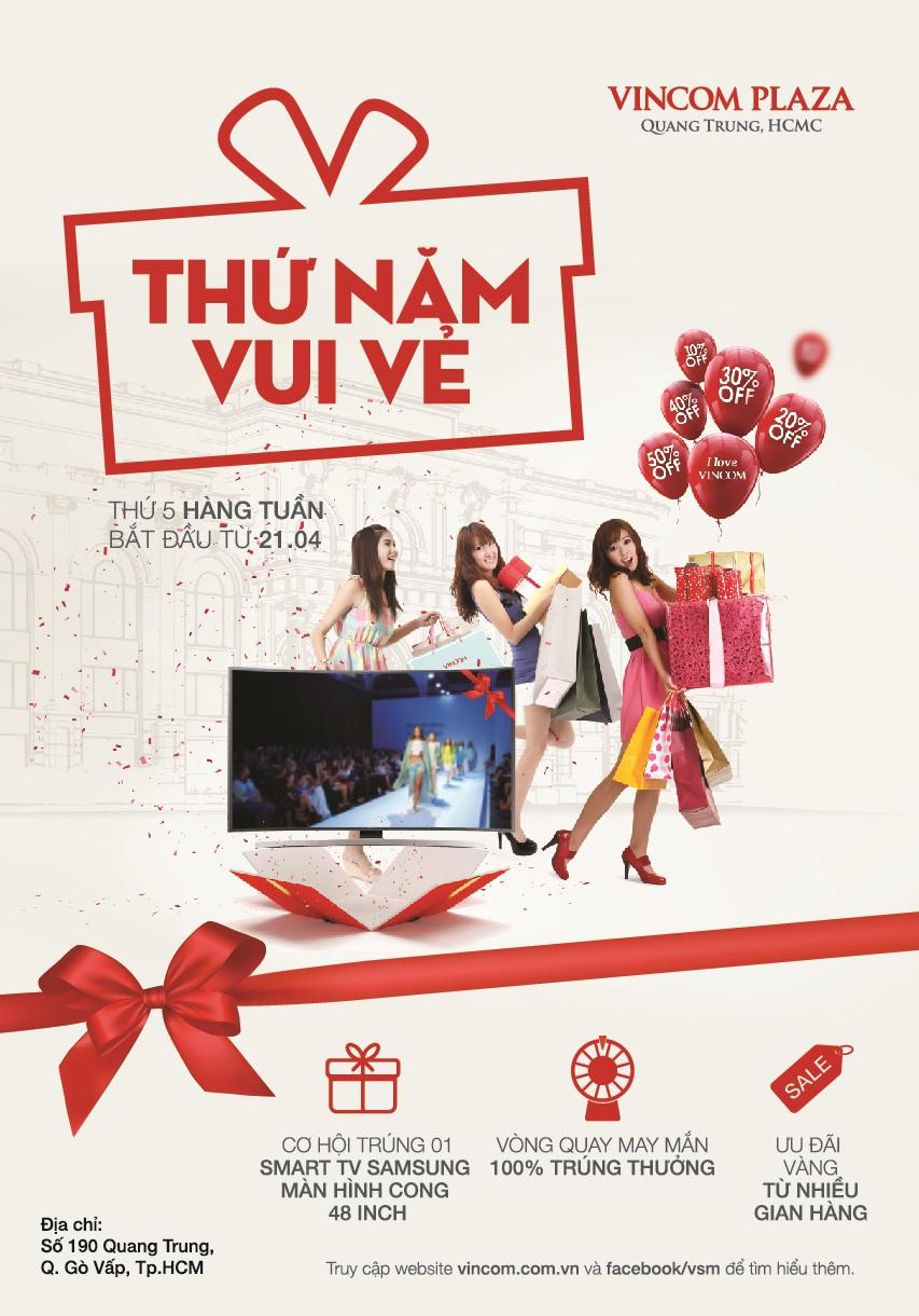 Ưu đãi vàng 'Thứ Năm Vui Vẻ' tại Vincom Plaza Quang Trung, Tp. HCM