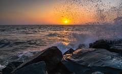 Like the splash, she came. Guess I wasn't ready, will take the blame! (the.photoguy) Tags: sunset sea orange sunshine rock landscape waves natural explore serene mumbai bandstand watersplash waterspray placestovisitinmumbai nikond750