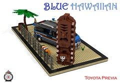 LUGNuts Custom Blue Hawaiian Previa Surf van (lego911) Tags: auto blue beach car japan modern japanese model sand rat surf lego render board egg totem smell hawaiian toyota rod 102 van challenge 1990s 1990 cad lugnuts povray mpv ratrod moc previa ldd tarago miniland lego911 ismellamodernrat