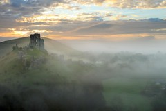 Dawn Mist (Tony Armstrong-Sly) Tags: england sky mist castle clouds landscape dawn spring dorset corfecastle