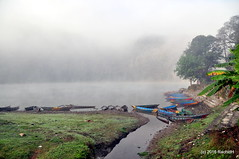 DSC_0121 (rachidH) Tags: morning nepal mountains nature water misty clouds boats lakes scene hills pokhara scenes fewa phewa annapurna himalayas phewalake fewalake rachidh