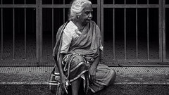 the white haired woman (j.p.yef) Tags: old people bw woman monochrome asia sitting streetlife malaysia sw penang whitehair yef peterfey bestportraitsaoi jpyef