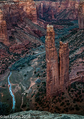 Spider Rock, Canyon De Chelly National Monument (IanLyons) Tags: travel sunset arizona usa sun ice water river landscape awesome scenic northamerica redrock canyondechelly formations rockformations afterglow frozenriver canyondechellynationalmonument spiderrock chinlewash canyondechellynationalmonume spiderrockviewpoint