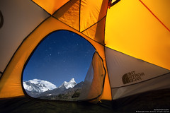 My personal Everest View Hotel (Anton Jankovoy (www.jankovoy.com)) Tags: travel camping nepal sky snow mountains night trekking stars landscape outdoors view hiking peak tent adventure mount mountaineering everest himalayas lhotse amadablam sagarmatha